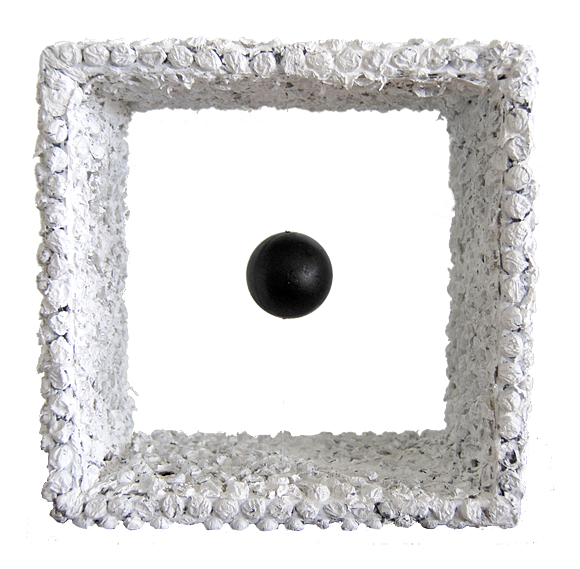 Suspended Black Ball, Mixed Media, 8x8x4 inches